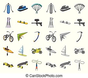 Extreme sport cartoon,mono icons in set collection for...