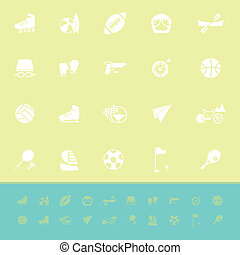Extreme sport color icons on green background