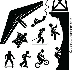 Extreme Sport Hang Glider Bungee - A set of pictogram about ...