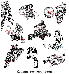 extreme sport illustration - extreme sport vector...
