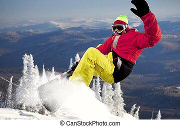 Extreme sport - Portrait of sportsman training at winter
