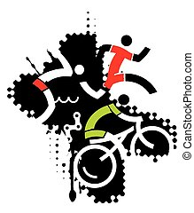 Extreme sport triathlon - Three icons symbolizing triathlon...