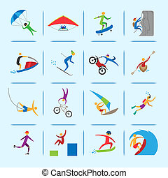 Extreme sports icons of diving climbing sailing people isolated vector illustration