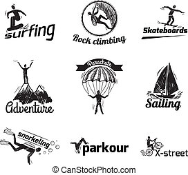 Extreme sports label sketch