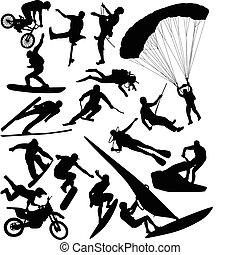 Extreme sports silhouettes - vector
