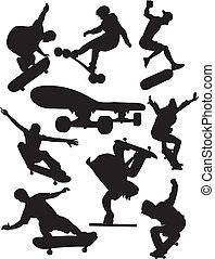 Extreme sports - skateboarding - Silhouettes of athletes...