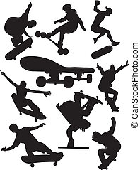 Extreme sports - skateboarding - Silhouettes of athletes...