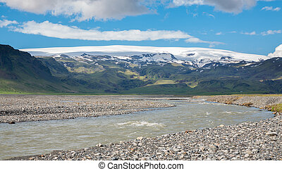 Extreme terrain home - Volcano and glacier river, the ...