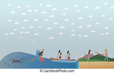 Extreme water sports, outdoor games concept vector illustration, flat style.