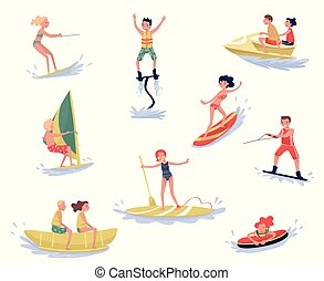 Extreme water sports set, waterski, flyboarding, windsurfing, surfing, paddleboarding, wakeboarding water sport activities cartoon vector Illustrations