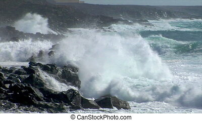 extreme wave crushing coast close