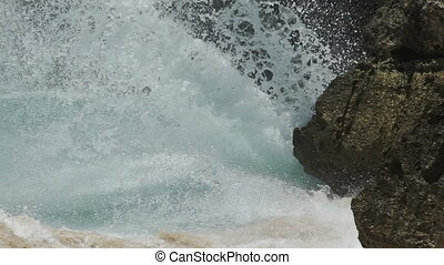 Extreme wave crushing coast in slow motion - extreme wave...