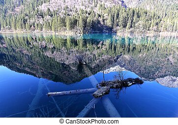 Extremely clear lake with magic colors in Jiuzhaigou National Park, China