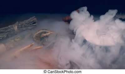 extremely close-up, detailed. magical attributes in thick white smoke. mystery.