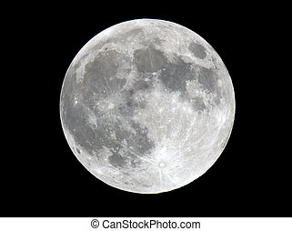 Full moon closeup showing the details of the lunar surface. This is an extremely sharp photograph and shot with a 600mm lense and a 2x extender.