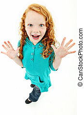 Extremely Excited Girl Child Over White Background Standing...