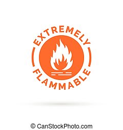 Extremely flammable icon. Fire hazard sign. Caution fire symbol.