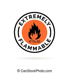 Extremely flammable icon. Fire hazard sign. Caution flame symbol.