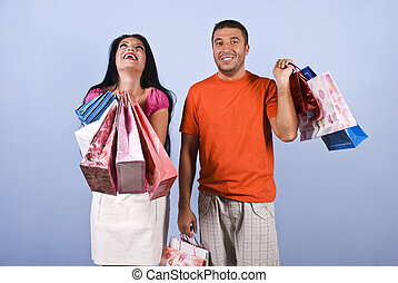 Extremely happy woman at shopping - Yes!I did it!Bought what...