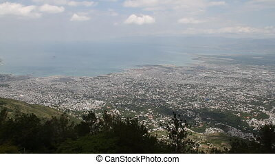 extremely wide hilltop shot of Port-au-Prince Haiti