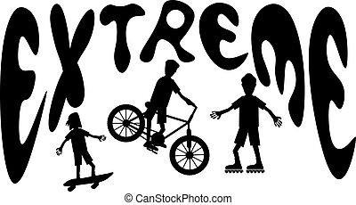 extremer sport, karikatur, silhouetten
