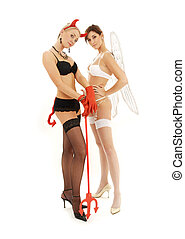 extremes - picture of angel and devil girls over white