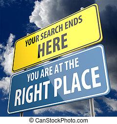 extremidades, direita, busca, aqui, sinal, lugar, palavras, ...