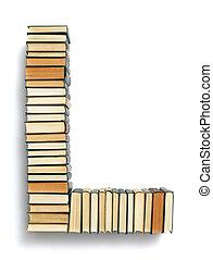 extremidades, formado, l, livros, letra, página