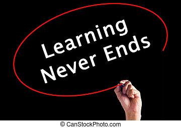 extremidades, sobre, nunca, escrita, marcador, aprendizagem, board., mão, transparente