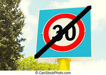 extremidades, zona, 30, aqui, sinal, estrada