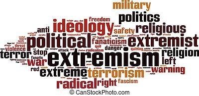 extremismo, palabra, nube