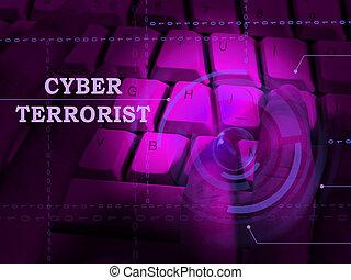 extremismo, terrorista, alarma, tajar, cyber, ilustración, 3d