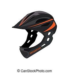 extremo, cabeça, vetorial, montanha, raça, esportes, protection., isolado, helmet., segurança, gráfico, ilustração, bicicleta, equipment., realístico