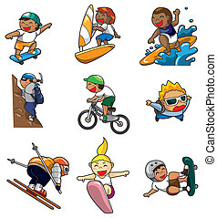 extremo, caricatura, ícone, desporto