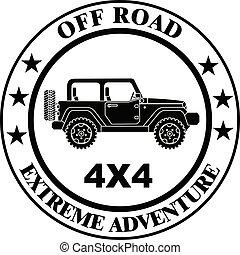 extremo, estampilla, jeep, viaje, safari, suv