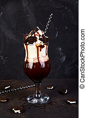 extremo, milkshake, con, chocolate