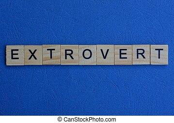 extrovertido, cartas, marrón, palabra, de madera
