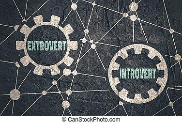 extrovertido, contra, metáfora, introvertido