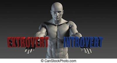 extrovertido, o, introvertido