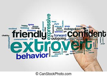 extrovertido, palabra, nube