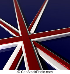 extruded, bandera, tres, británico, dimentional