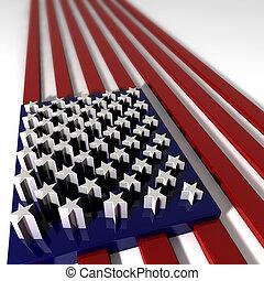 extruded, bandera, tres, estados unidos de américa, dimentional