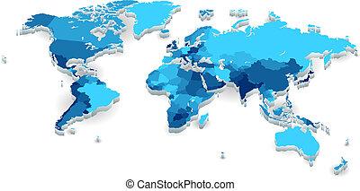 extruded, landen, wereldkaart