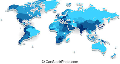 Extruded World map with countries - World map with countries...