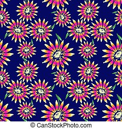 Exuberant Bold Daisy Flowering seamless vector pattern. Hand painted tropical flowers decorative background. Floral botany backdrop design. Bright summer fashion print, textile, web wallpaper pattern