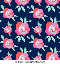 Exuberant Bold Roses Flowering seamless vector pattern. Hand painted rose flowers decorative background. Floral botanical backdrop design. Bright summer fashion print, textile, web wallpaper pattern