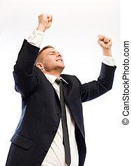 Exuberant young businessman.