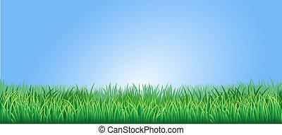 exuberante, pasto o césped, verde, ilustración