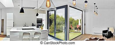 exuberante, vista, cocina, desván, moderno, jardín