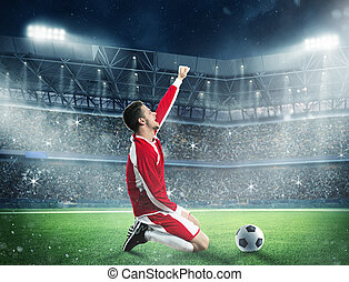 Exultation of a football player - Soccer player exults on a...